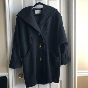 Michael Lewis Women's Black Hooded Wool Coat